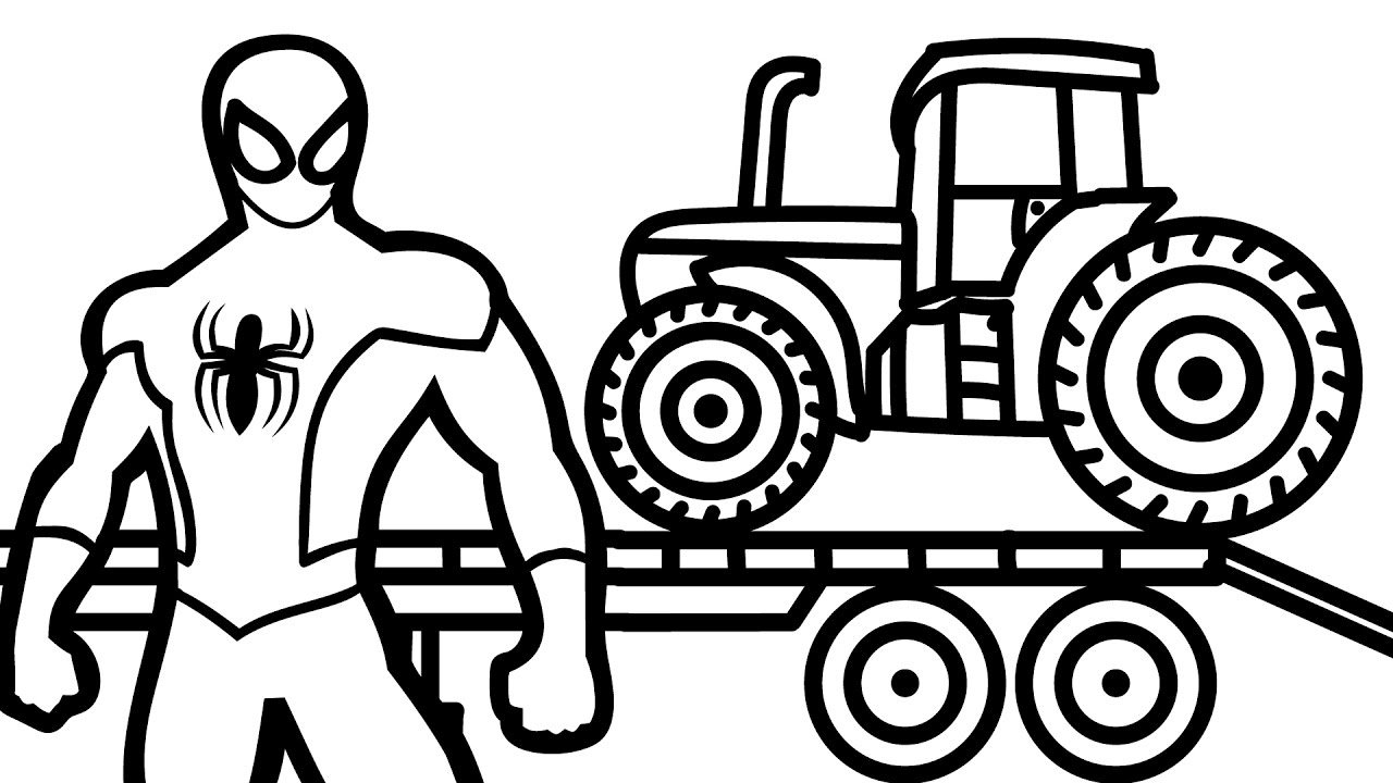 Tractor Transportation With Spiderman Coloring Book Coloring Pages