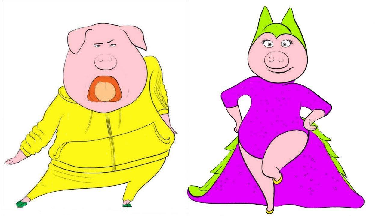 Sing Movie Coloring Pages Gunter And Rosita Sing Shake It Off