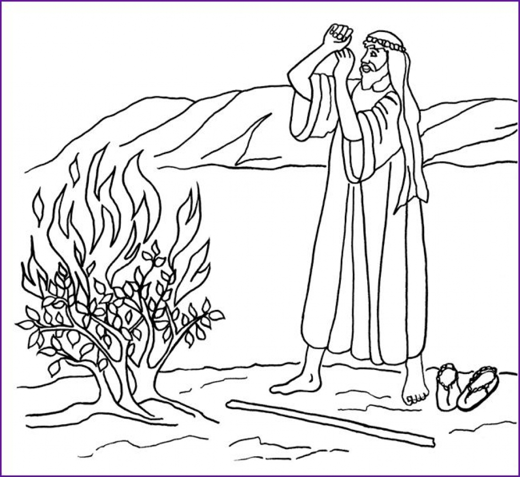 Moses And The Burning Bush Coloring Pages - NEO Coloring