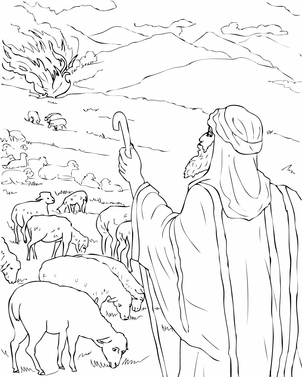 New Moses And The Burning Bush Coloring Page C  5983