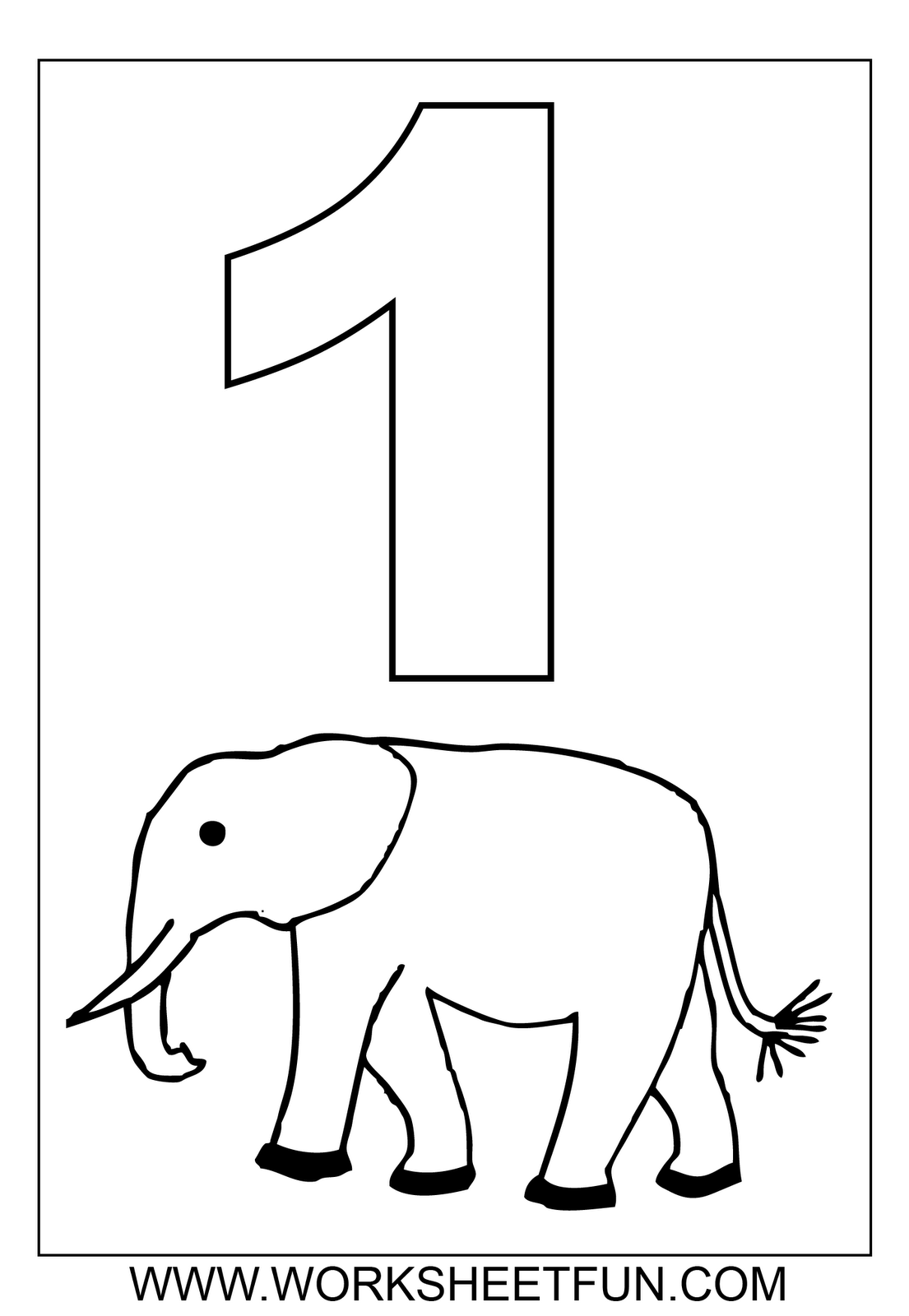 Number 1 ( One ) Tracing And Coloring Worksheets