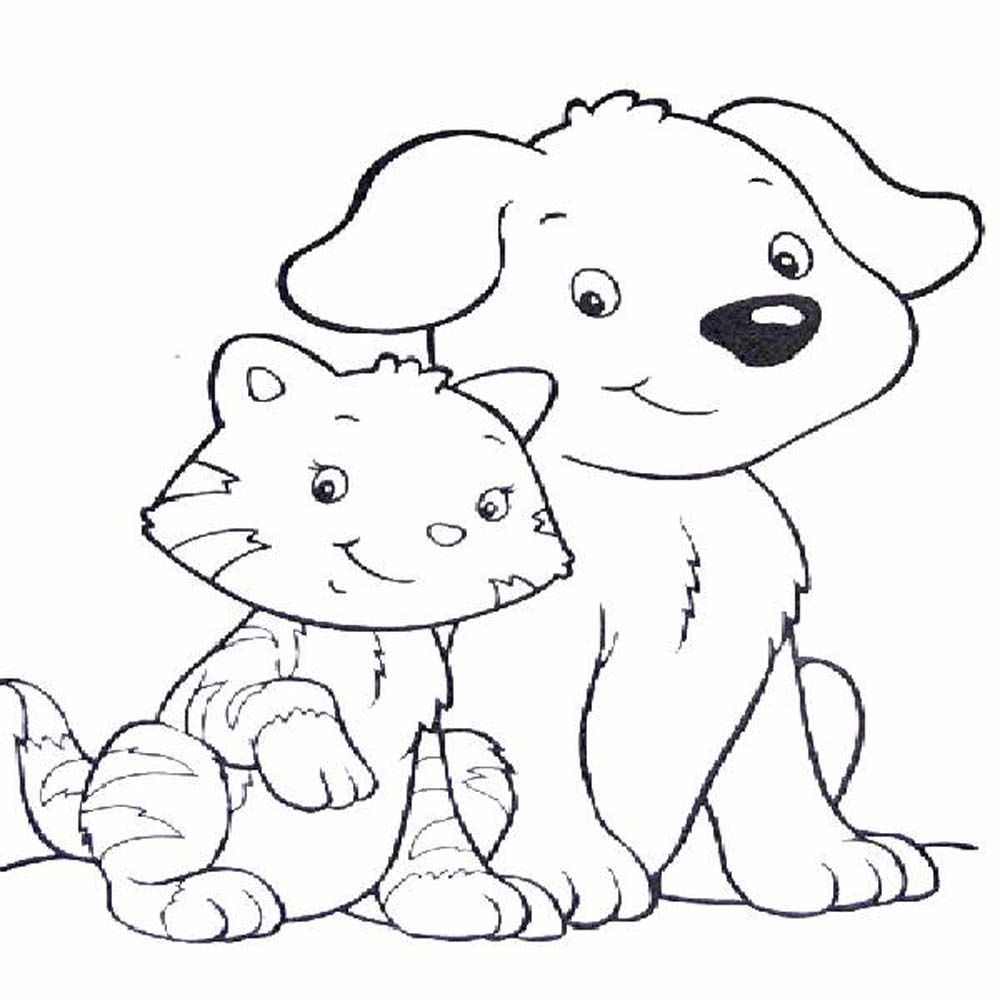 Pictures Cats And Dogs Coloring Pages 69 For Coloring Pages For