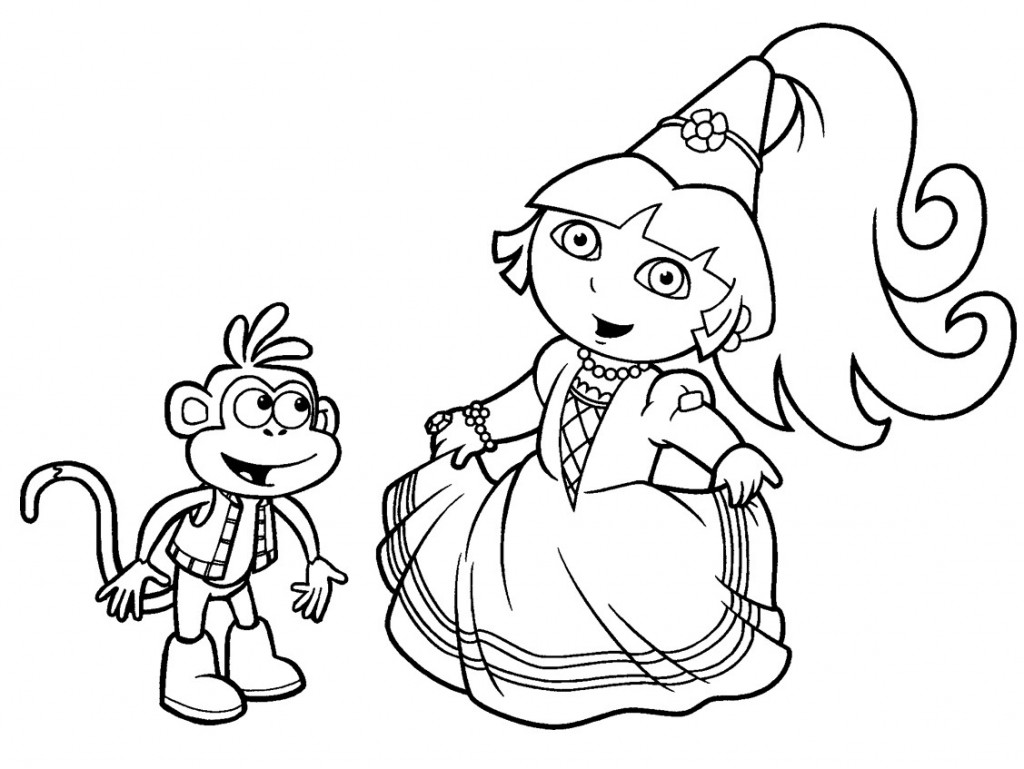 Princess Dora The Explorer Coloring Pages Download
