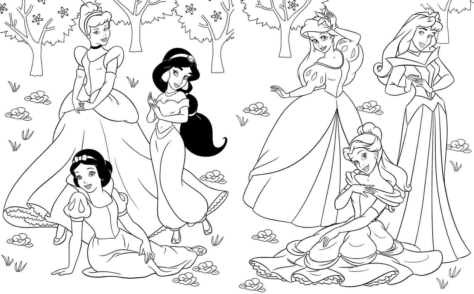 Princesses Printable Coloring Pages Archives Within Printable