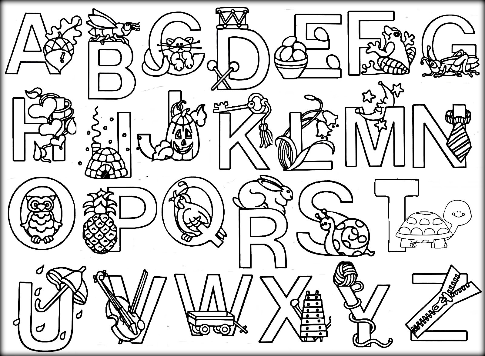 Printable Animal Alphabet Coloring Pages Color Zini And