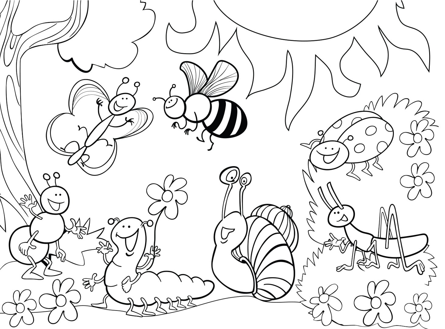 Printable Bug Coloring Pages In
