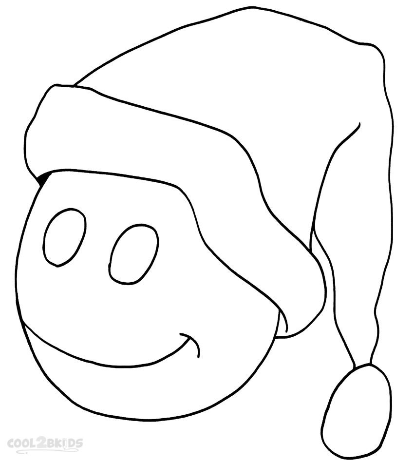Printable Santa Hat Coloring Pages For Kids