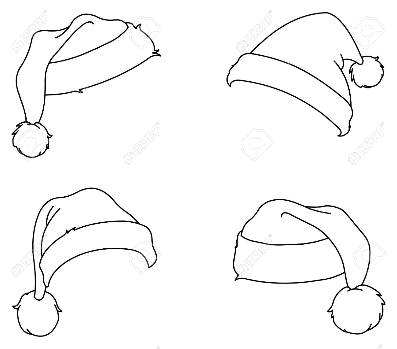 Printable Santa Hat Coloring Pages Within Page
