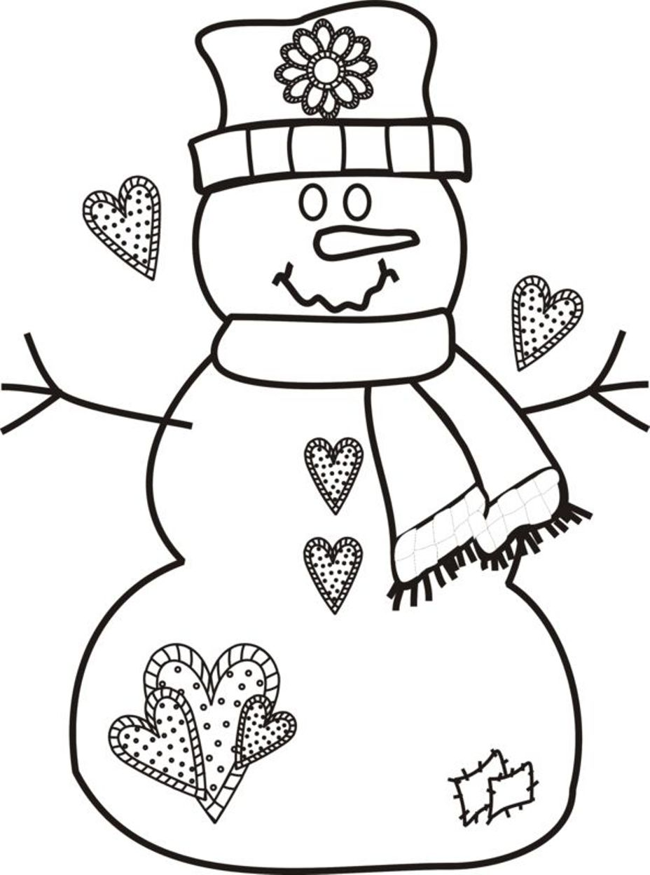 Snowman Coloring Pages For Kids In Printable