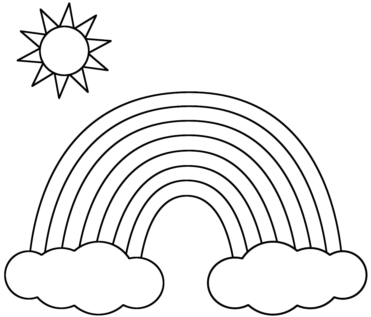 Sun Coloring Pages With Rainbow