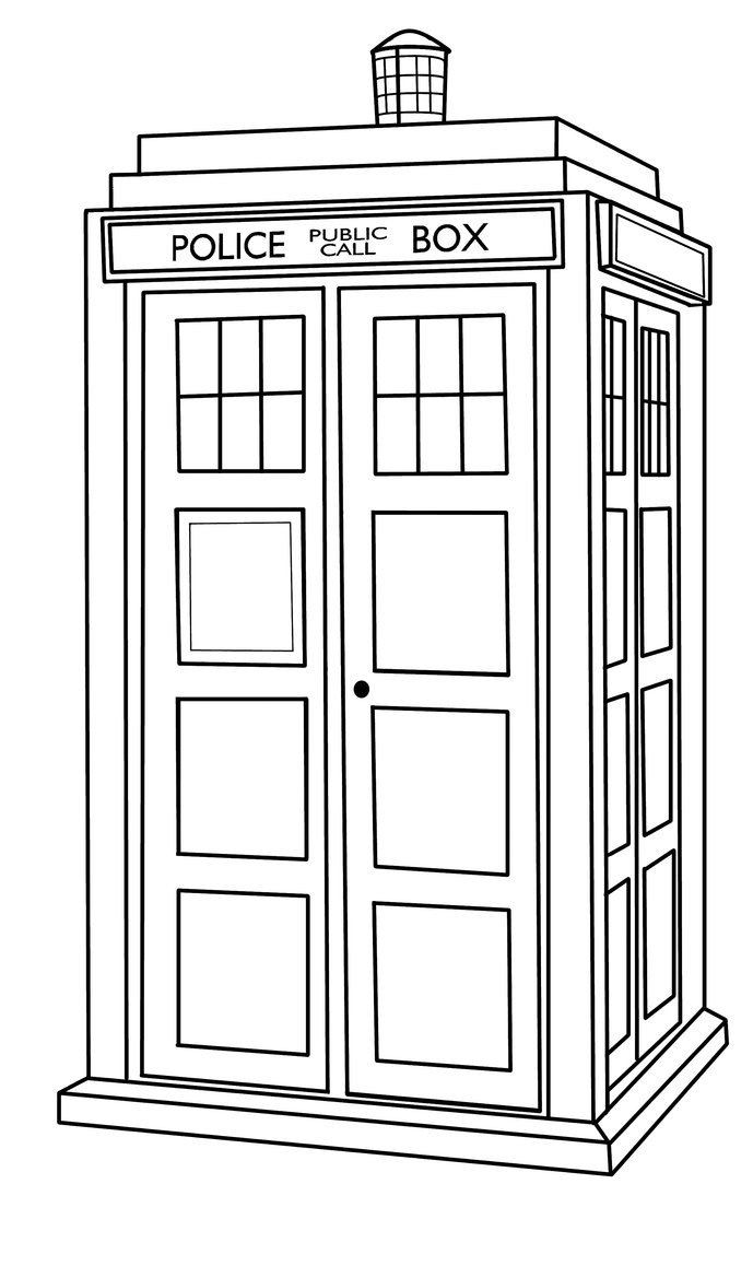 Download Coloring Pages  Tardis Coloring Page  Tardis Coloring