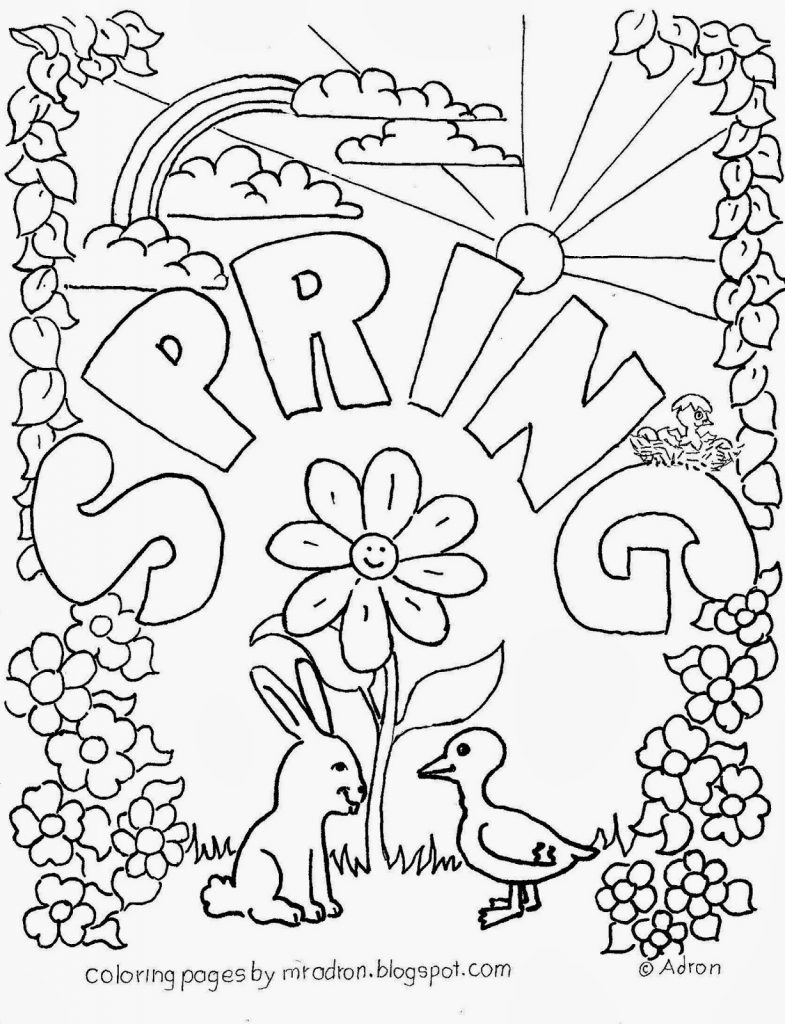 Butterfly With Flowers Coloring Pages Silly Inside Spring