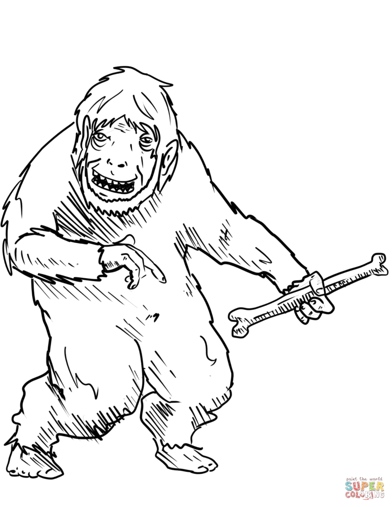 Yeti Bigfoot Coloring Pages Free Inside