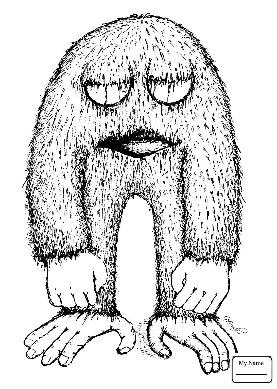 Coloring Pages For Kids Fantasy Mythology Bigfoot Yeti Bigfoot