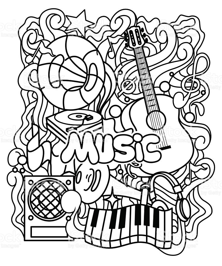 Zentangle Musical Ornament For Coloring Page Or Relax At Music