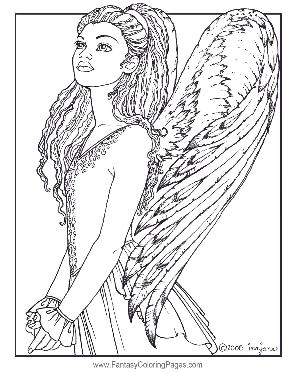 2 Angel Coloring Pages, Free Printable Angel Coloring Pages For