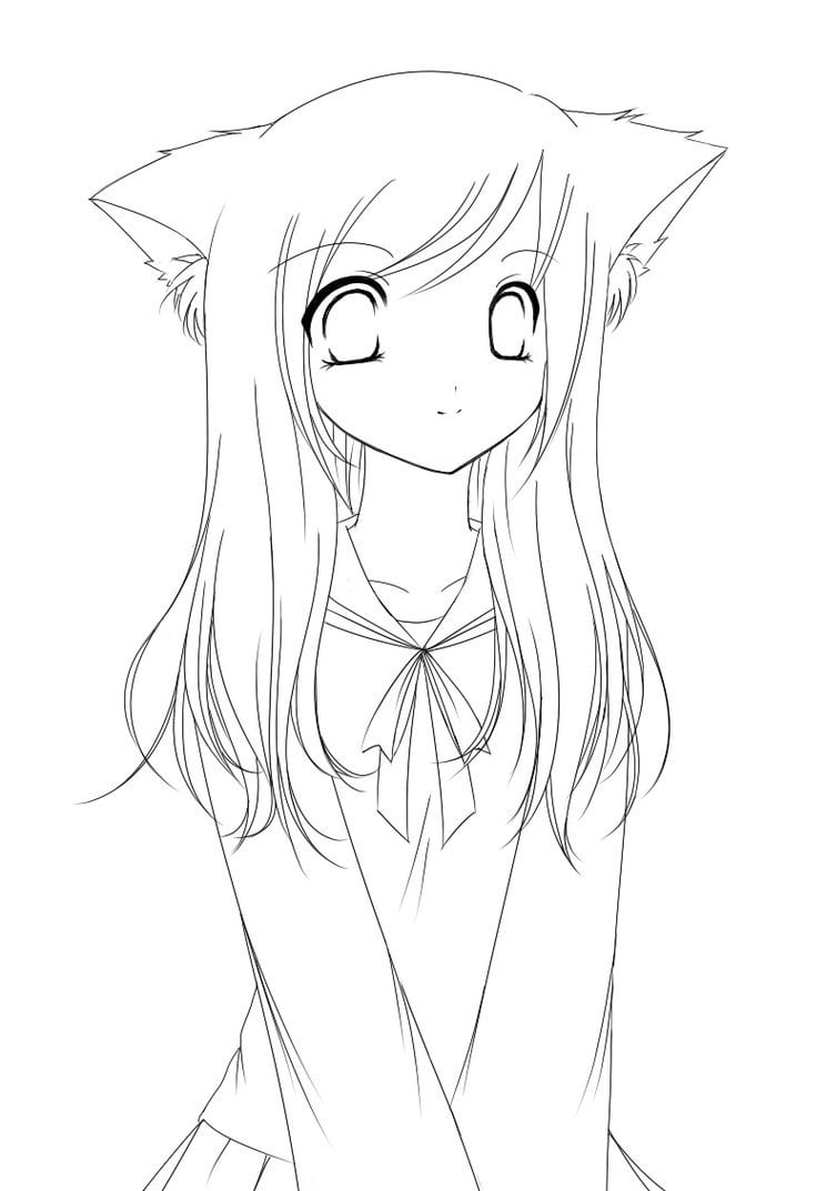 Anime Fox Girl Coloring Pages Download