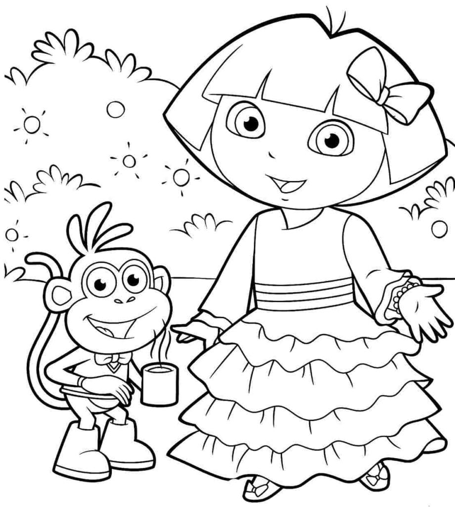 Dora Printable Coloring Pages With The Explorer Fleasondogs Org
