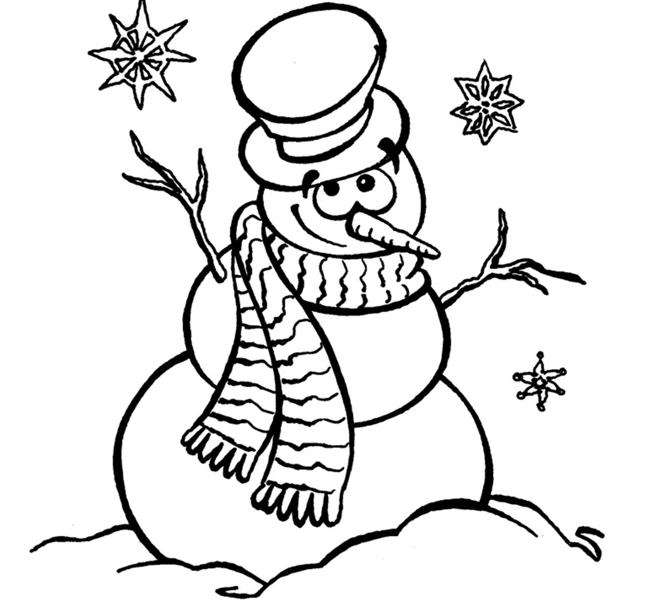 Drawn Snowman Colouring Page
