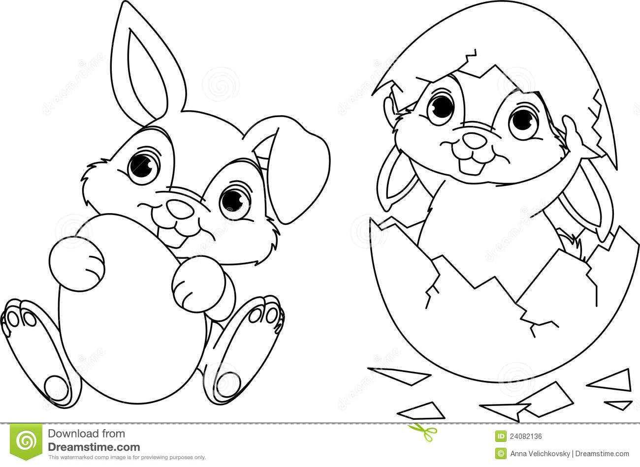 Easter Bunny Coloring Page Stock Vector  Image Of Funny