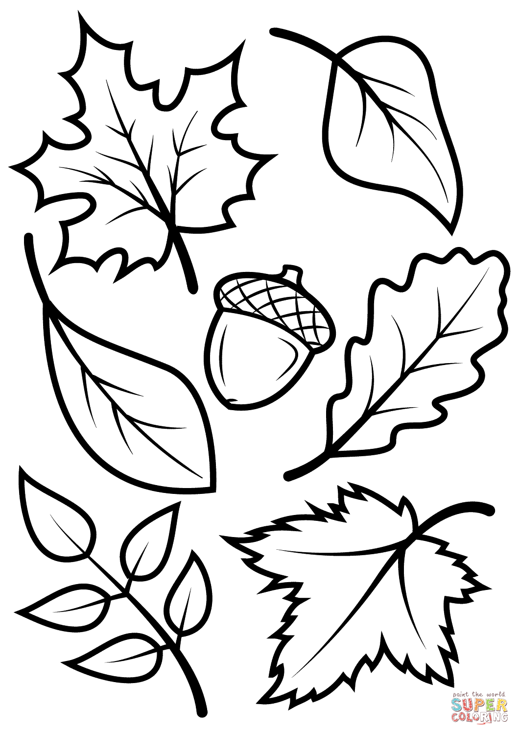 28 Coloring Page Of Leaves, Autumn Leaf Coloring Page
