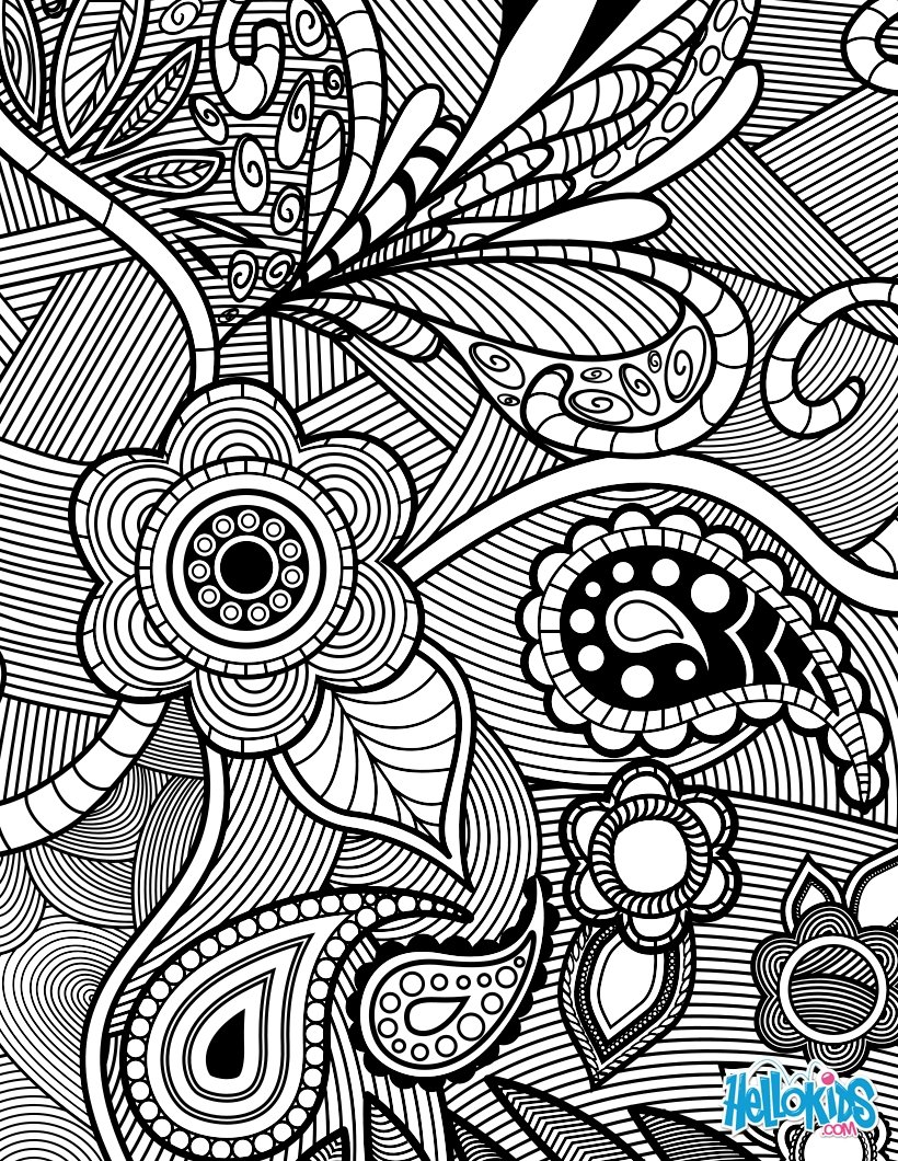 Flowers & Paisley Design Coloring Pages