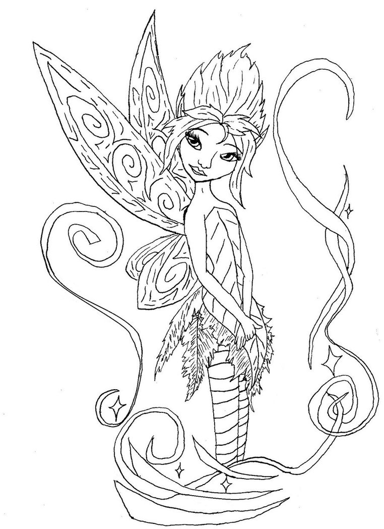 Free Fairy Coloring Pages For Adults Many Interesting Cliparts