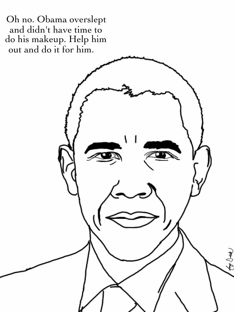 Smiling Barack Obama Coloring Page Free Printable Coloring Pages ...