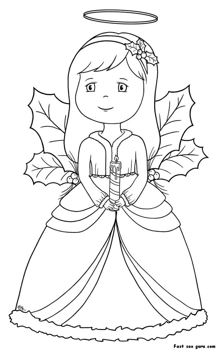 Printable Christmas Angel Coloring Pages, Angel Color Page