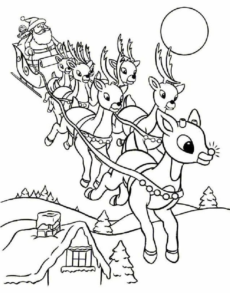 Reindeer Coloring Pages Flying Reindeer
