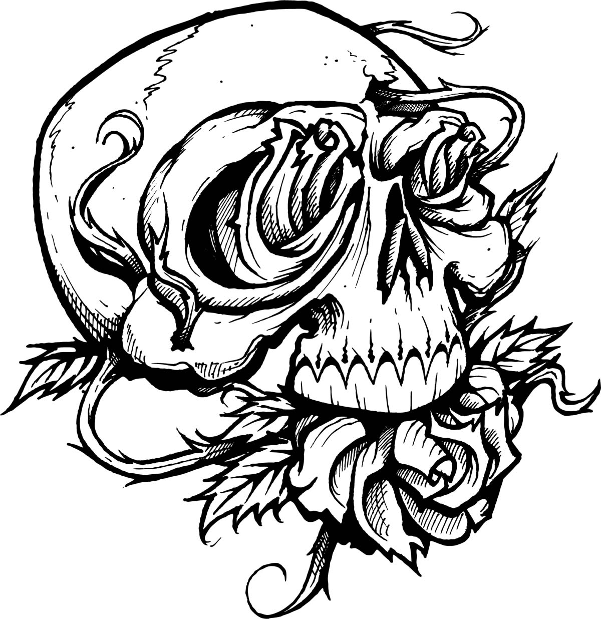 Skull Coloring Pages With Roses