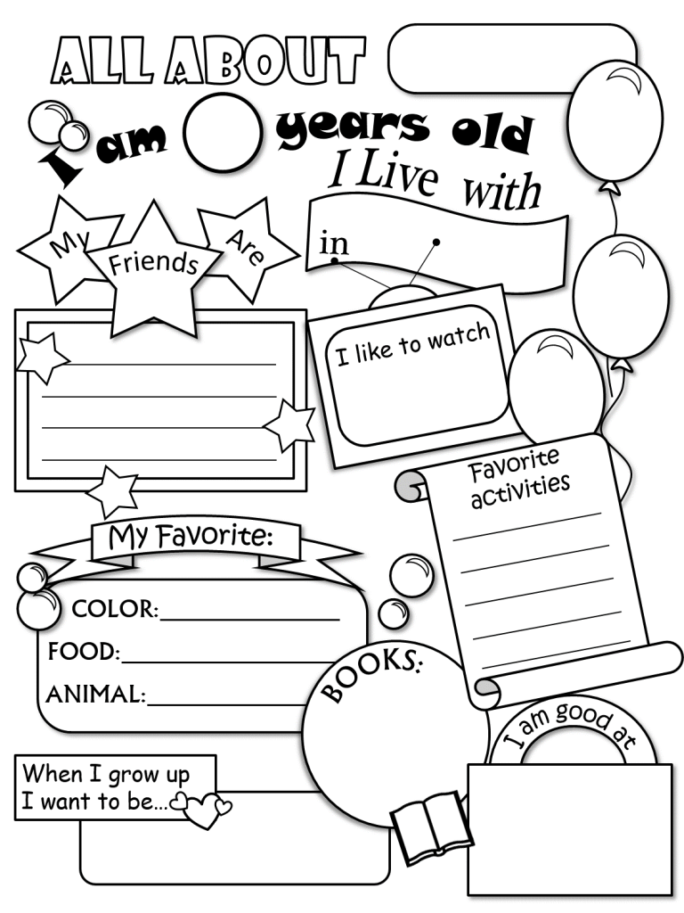 Adult All About Me Coloring Pages All About Me Coloring Pages For