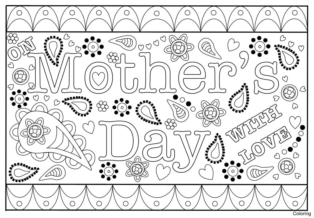 Mothers Day Card Mother Coloring S Colouring In With This 25f