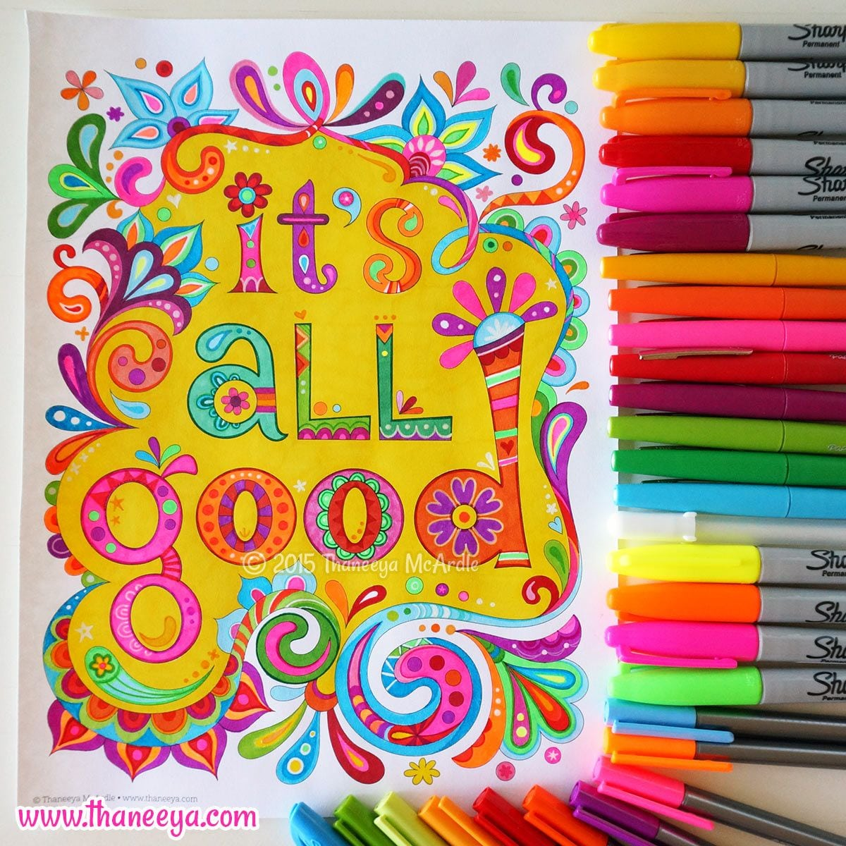 A Coloring Page Done Entirely With Sharpies! Learn About My