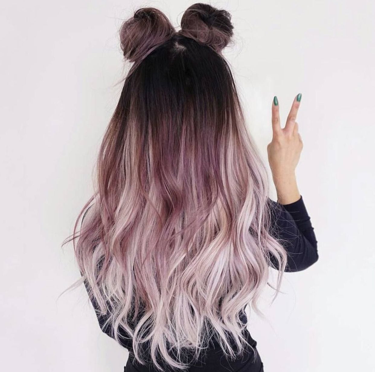 Awesome Rockin Hairstyle And Color  Ombre Dark To Light  Buns Bows
