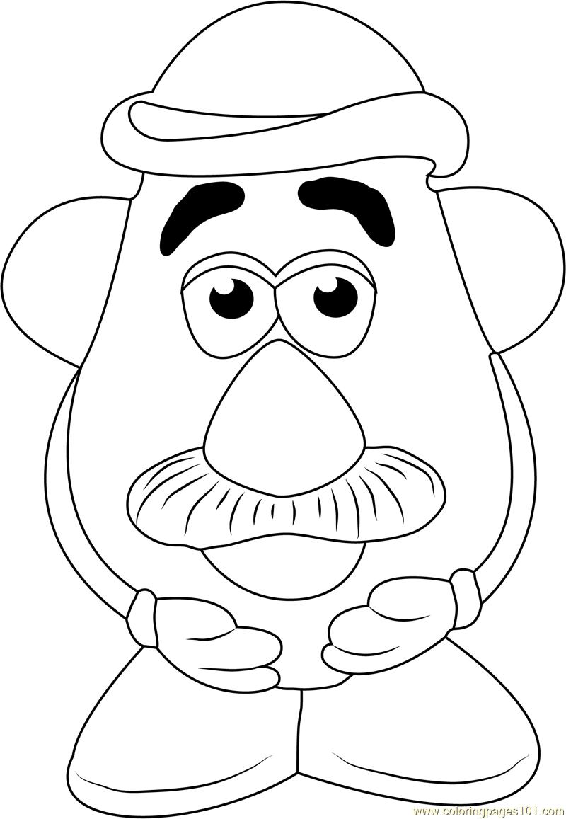 Cute Mr  Potato Coloring Page