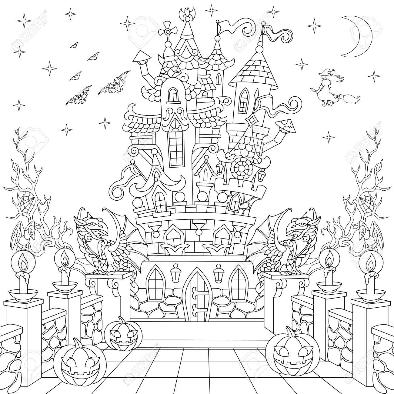 Halloween Coloring Page  Spooky Castle, Halloween Pumpkins, Flying