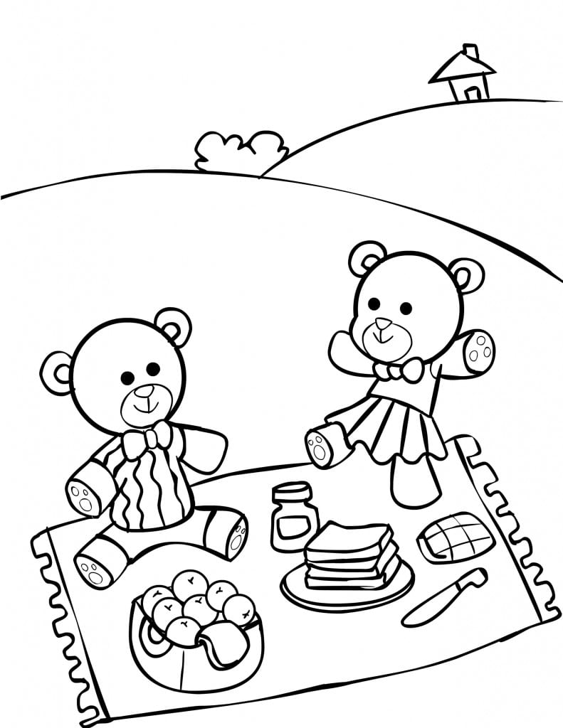 Teddy Bear Picnic Coloring Pages For Kids  It's A Teddy Bear