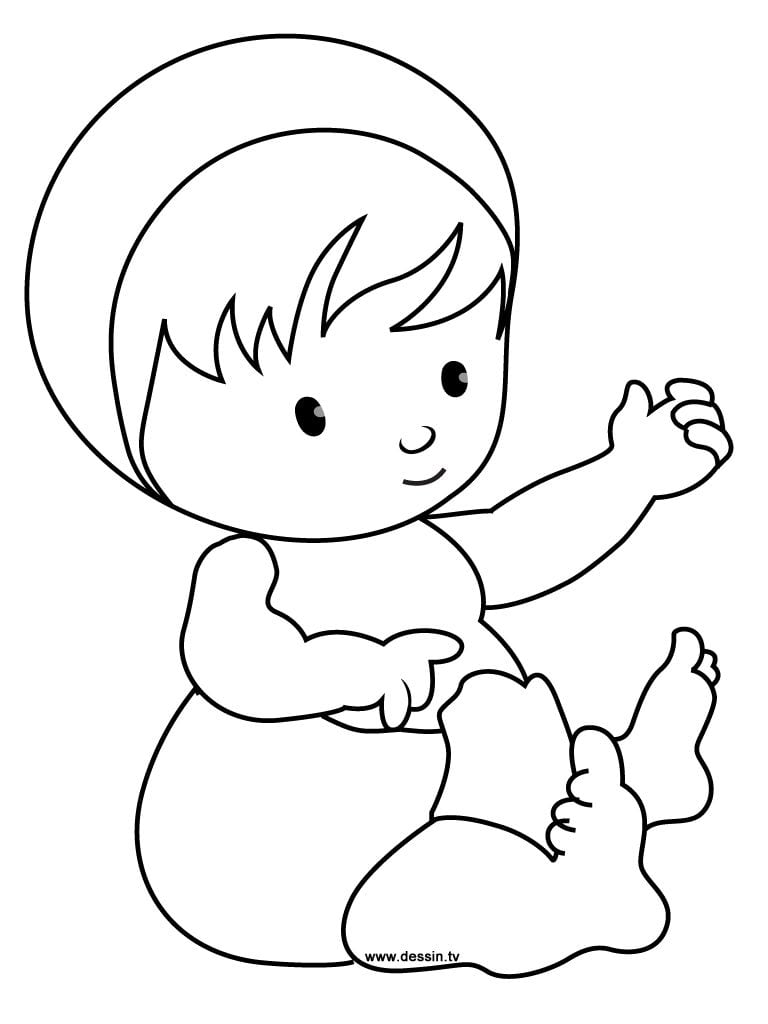 Simple Color Baby Coloring Pages To Print For Kids