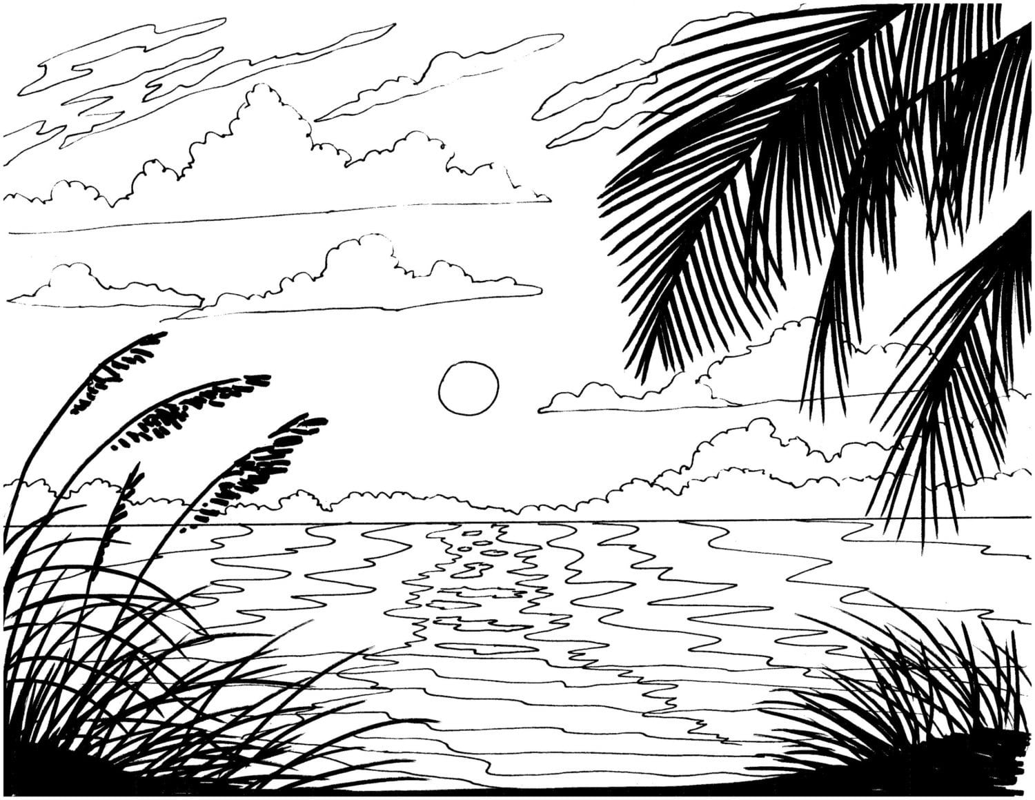 Adult Coloring Pages Beach Sunset Download To