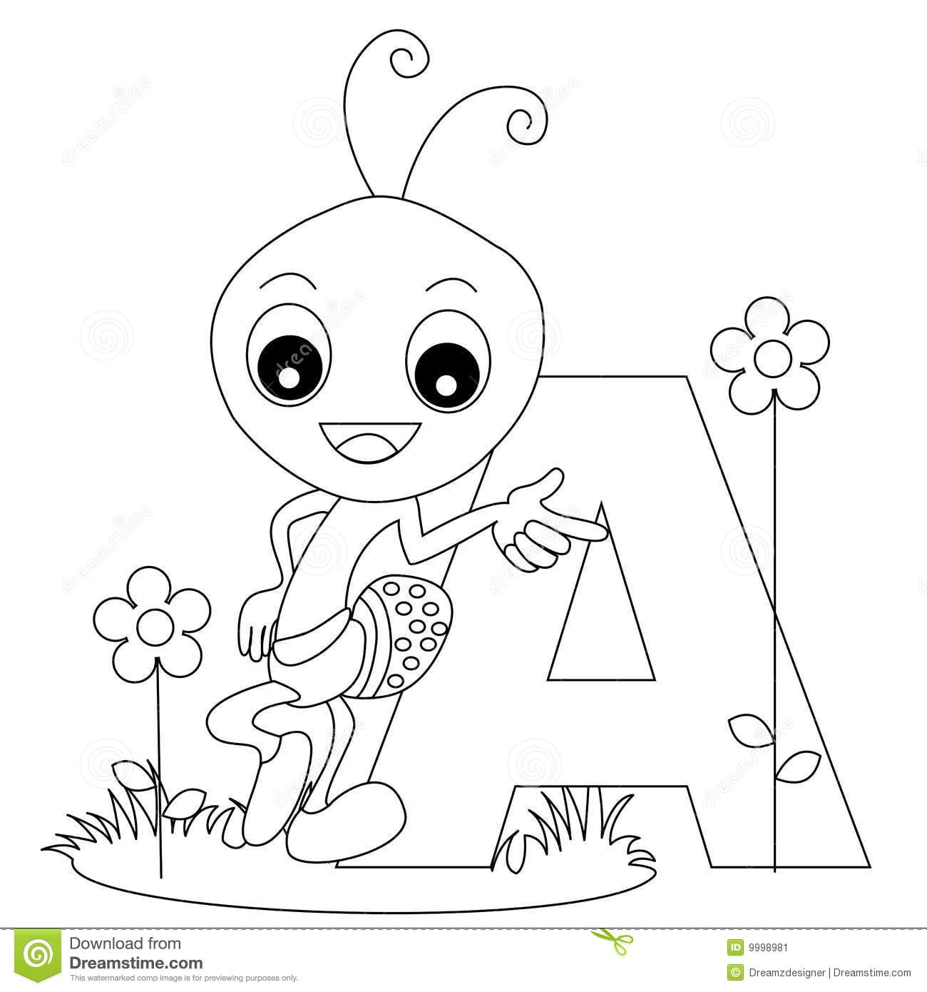 Animal Alphabet A Coloring Page Stock Vector