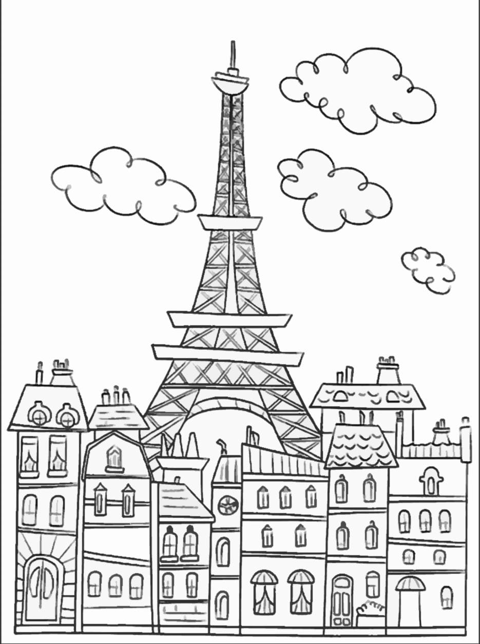 Paris Buildings & Eiffel Tower   Cute Coloring Page To Download On