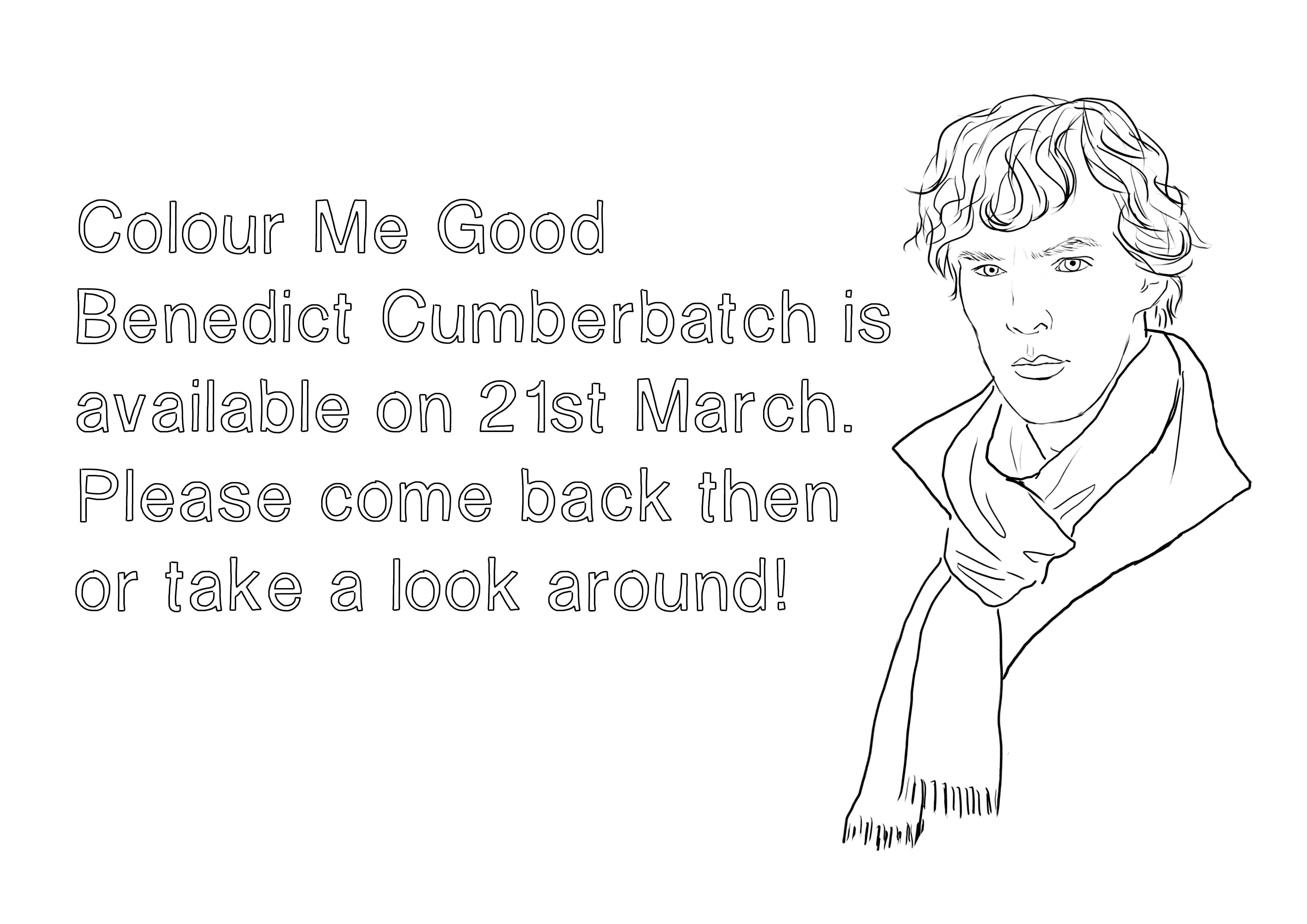 Benedict Cumberbatch Coloring Book  Color Your Own Benedict