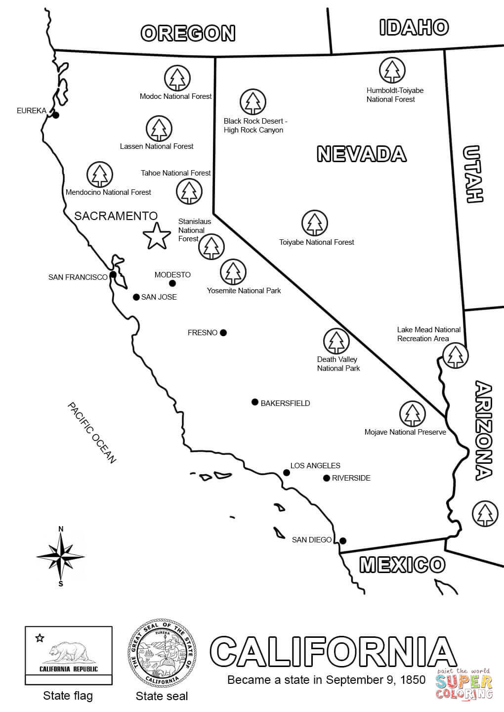 Map Of California Coloring Page