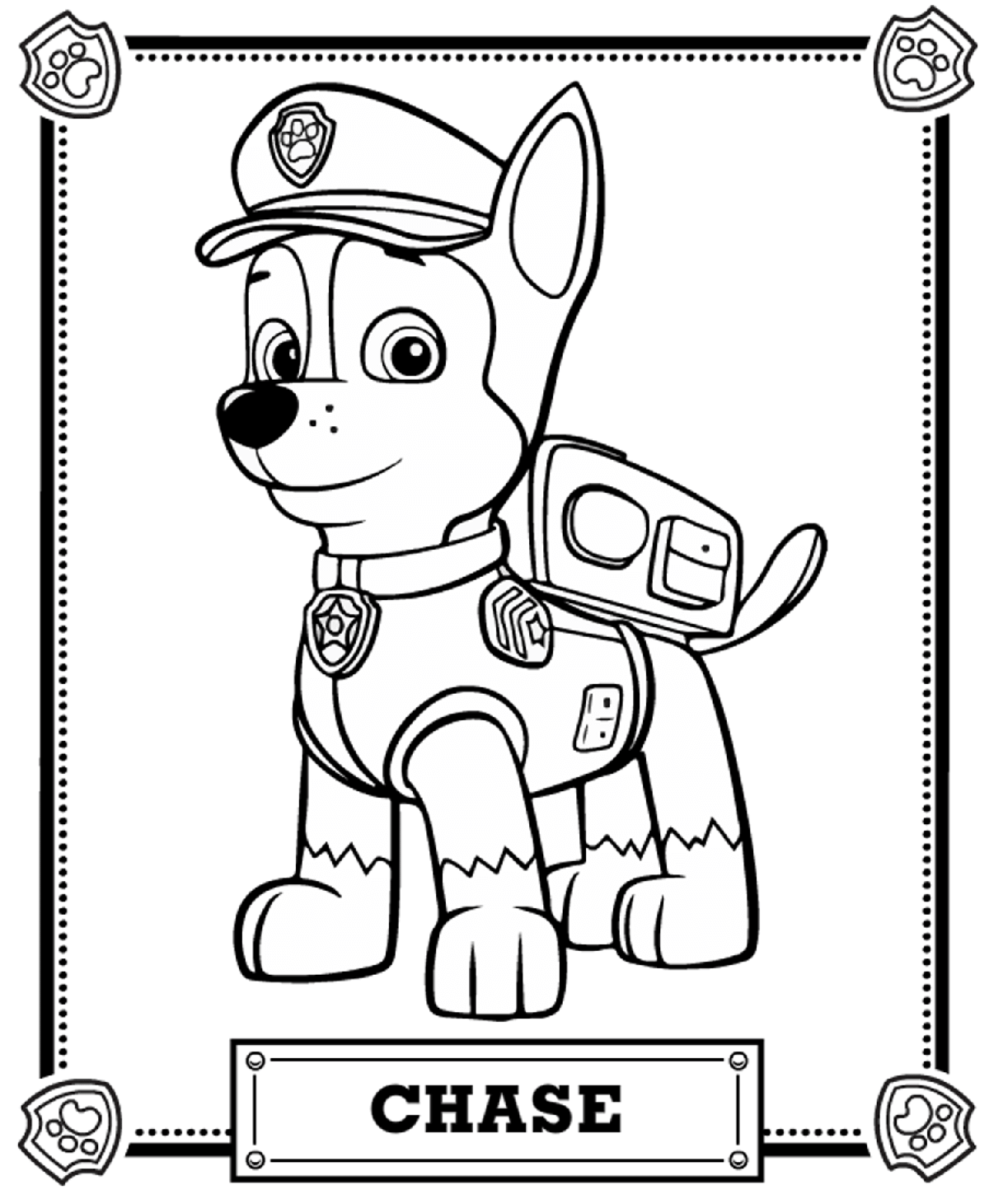 Chase Portrait Free Coloring Page • Animals, Kids, Paw Patrol