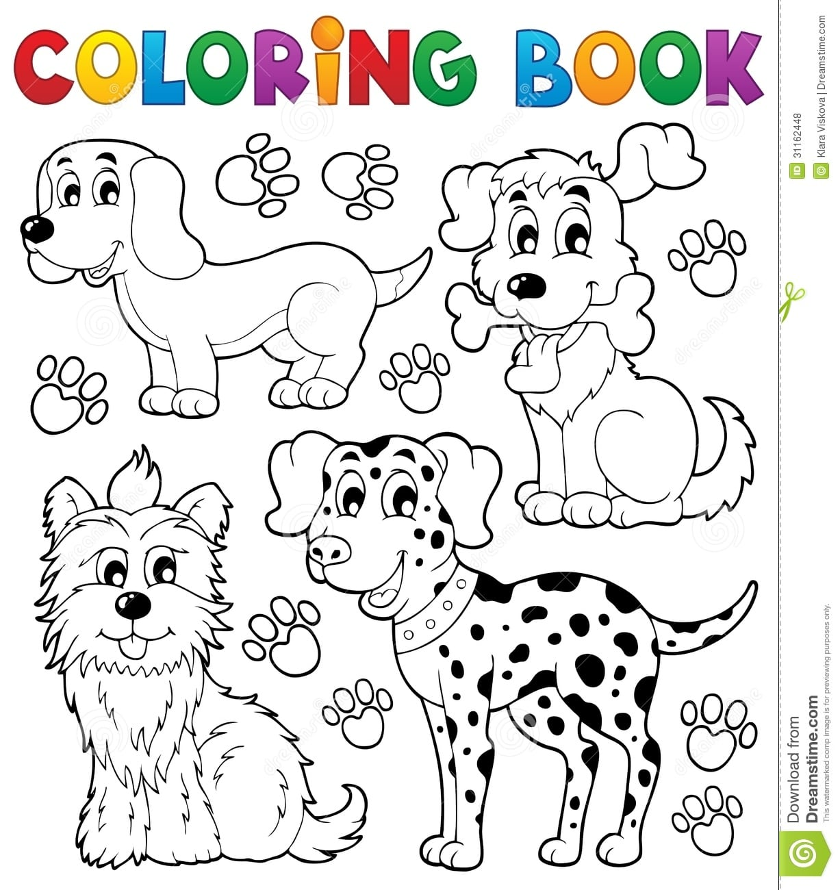 Coloring Book Dog Theme 5 Stock Vector  Illustration Of Looking