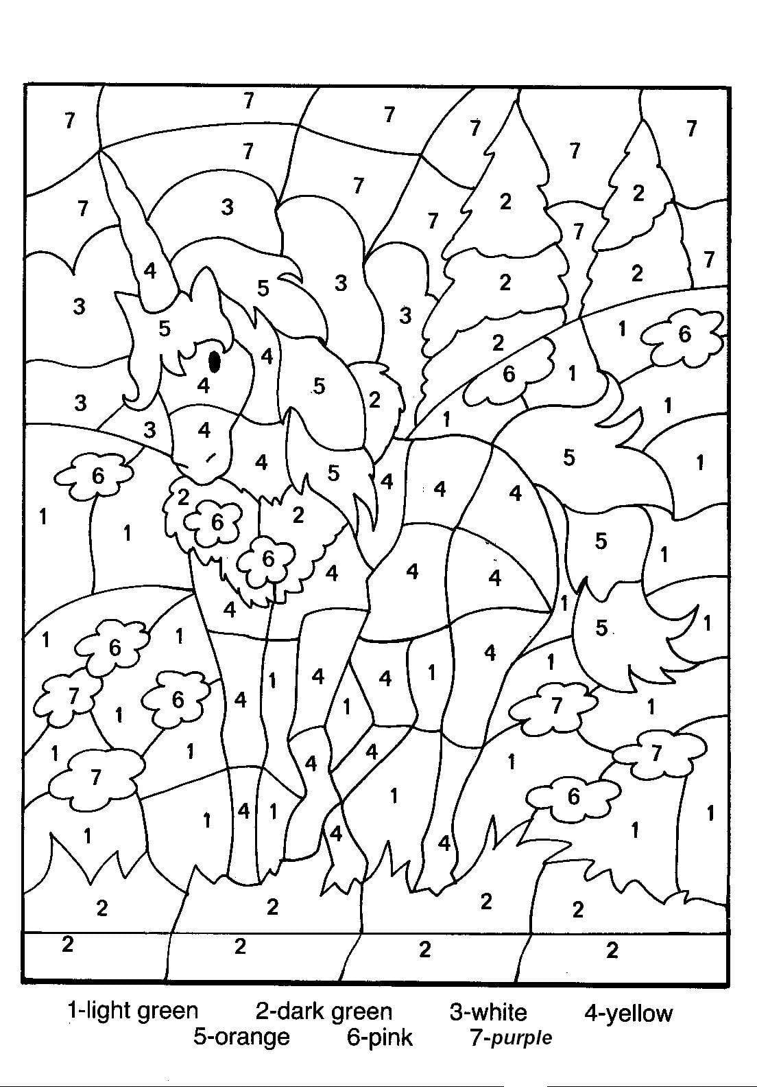 Coloring Pages Color By Number Free Printable Best