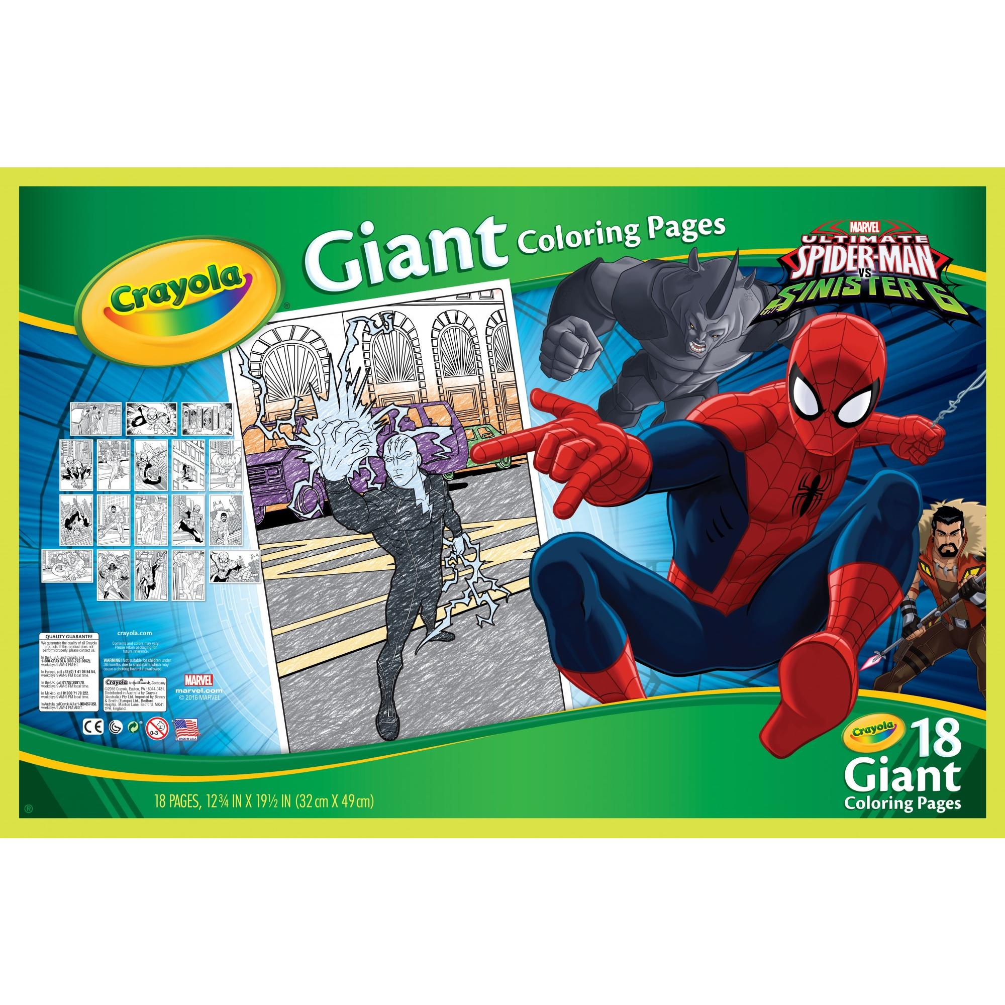 Crayola Giant Coloring Pages Featuring Spiderman 18 Pages Kids