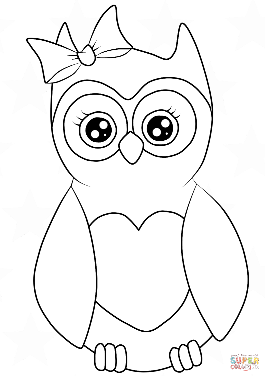 Cutest Cartoon Owl Coloring Page