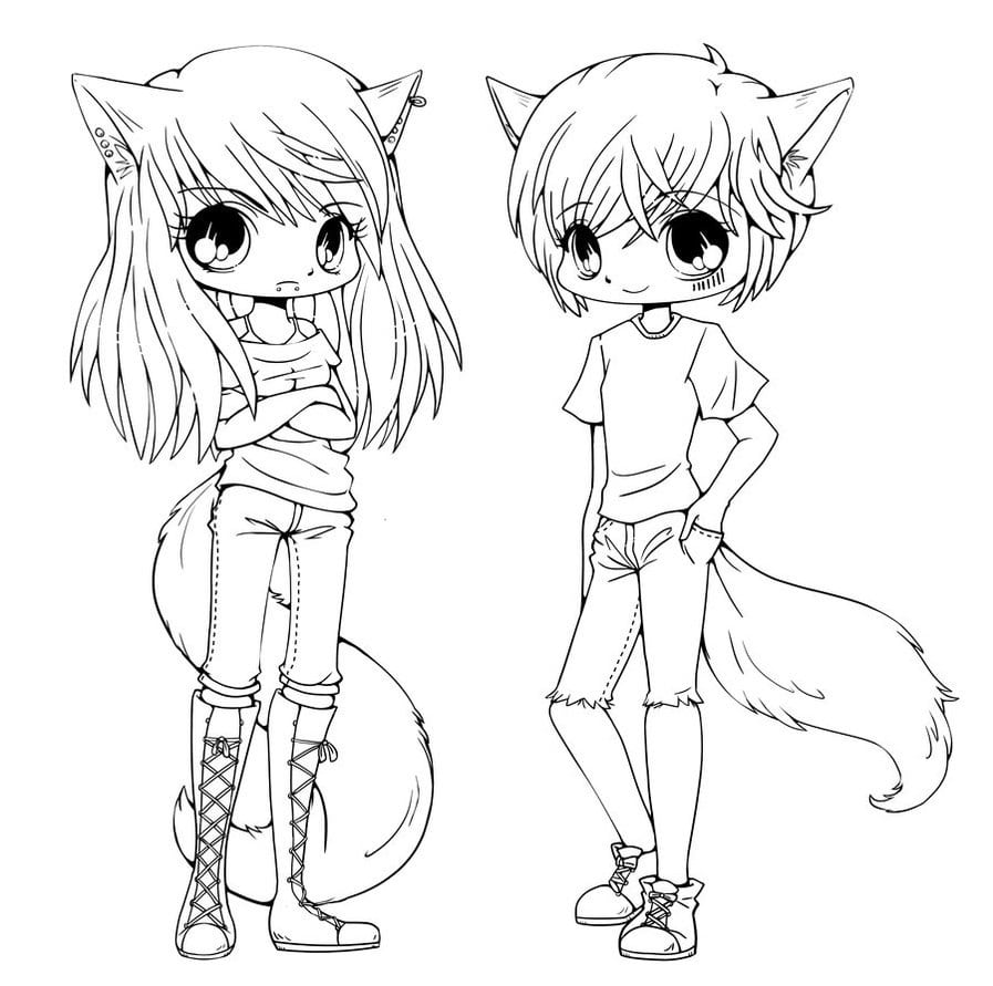 Cute Chibi Coloring Pages For Kids